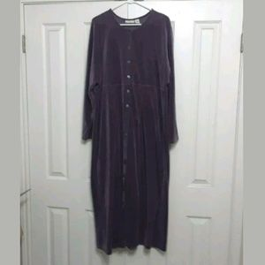 J Jill 2X purple velour button front maxi dress